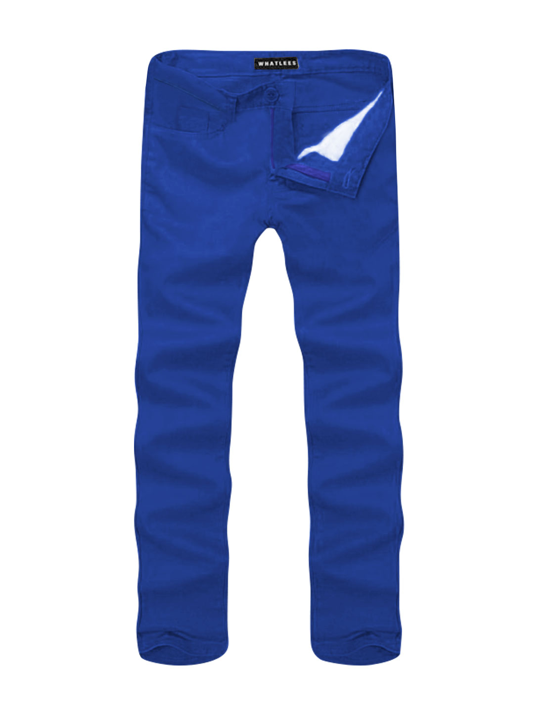 Men Mid Rise Zip Fly Side Pockets Straight Leg Casual Pants Royal Blue W36