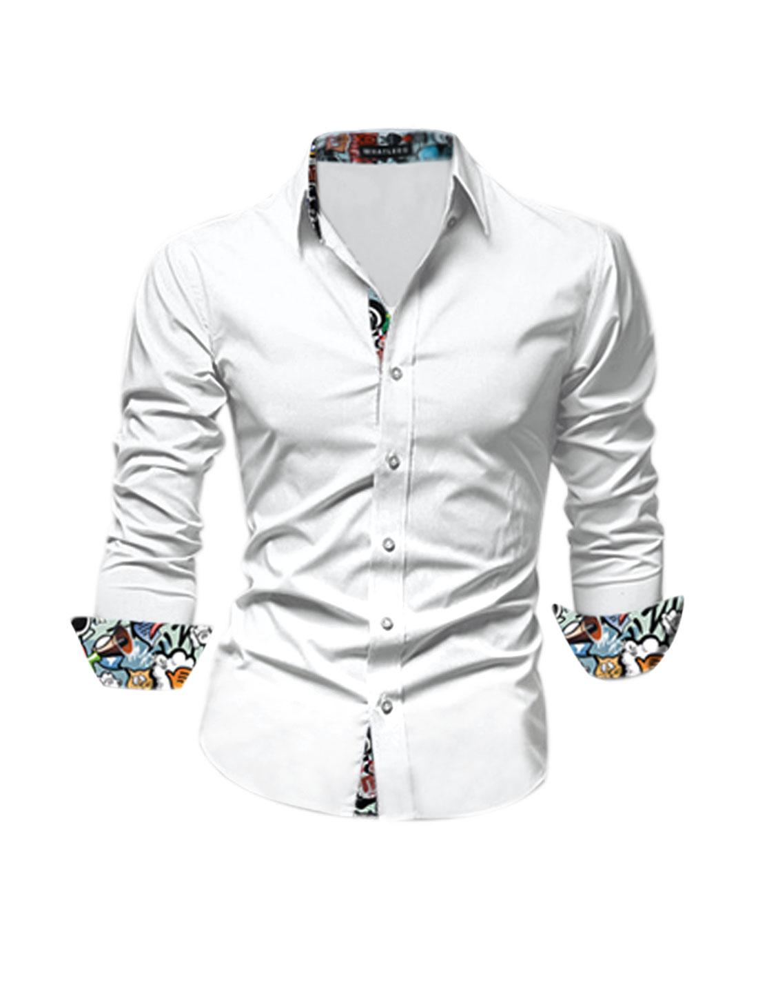 Man Long Sleeves Cartoon Pattern Button Down Slim Fit Shirt White M
