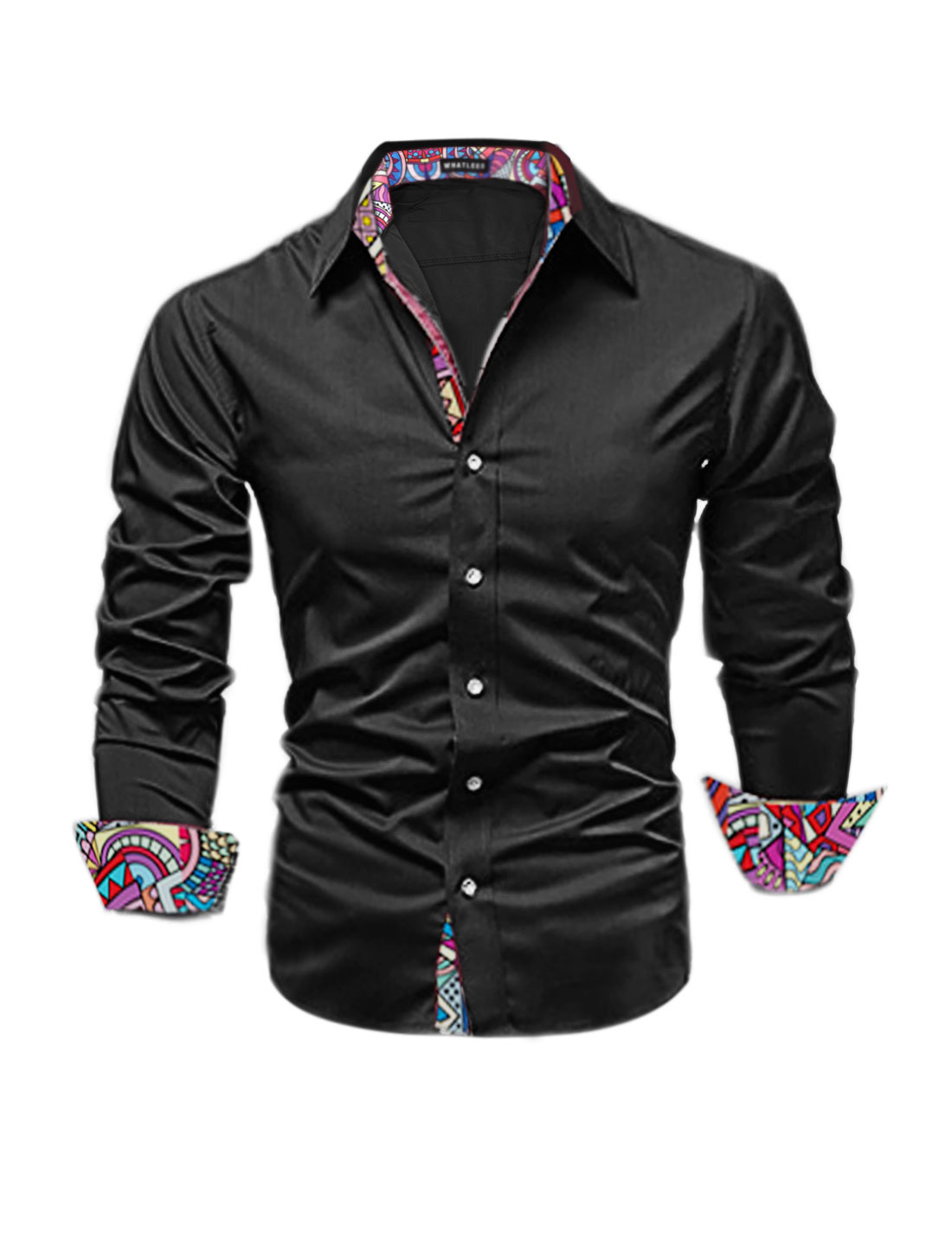 Men Long Sleeves Geometric Prints Button Down Casual Shirt Black M
