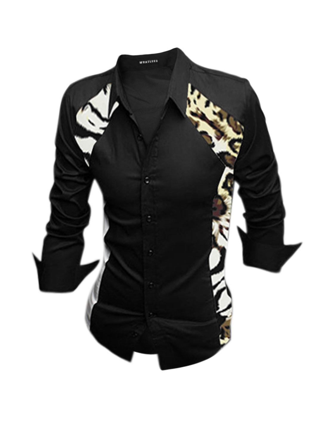 Men Point Collar Leopard Prints Button Closure Casual Shirt Black M