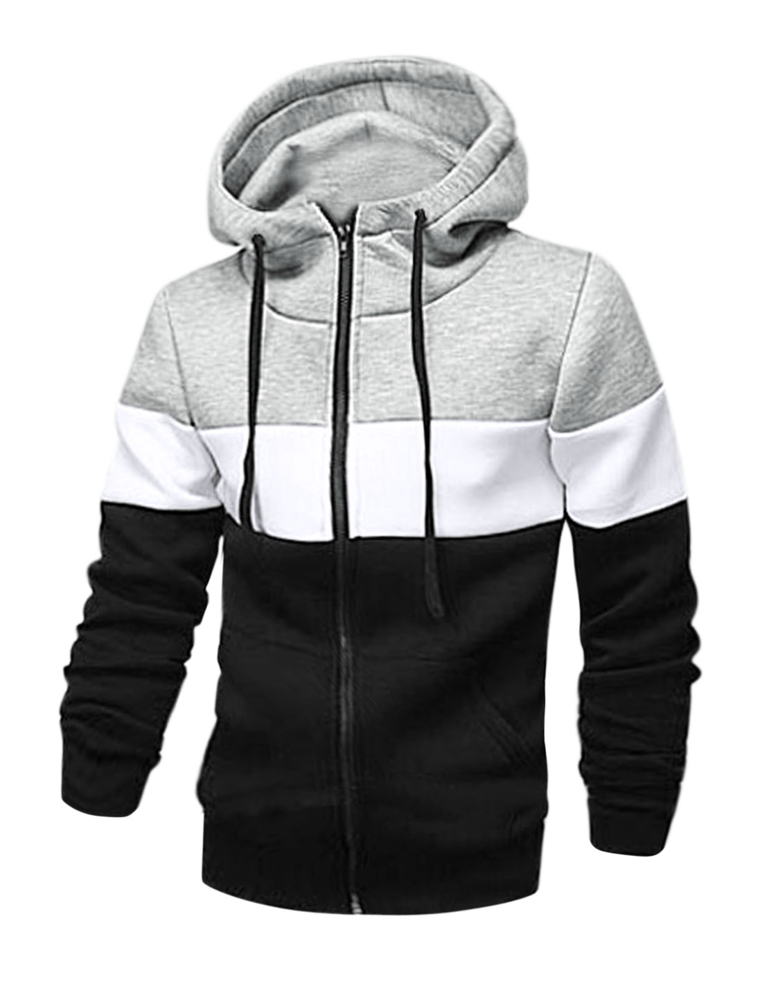 Men Drawstring Color Block Kangaroo Pockets Hooded Sweatshirt Gray M