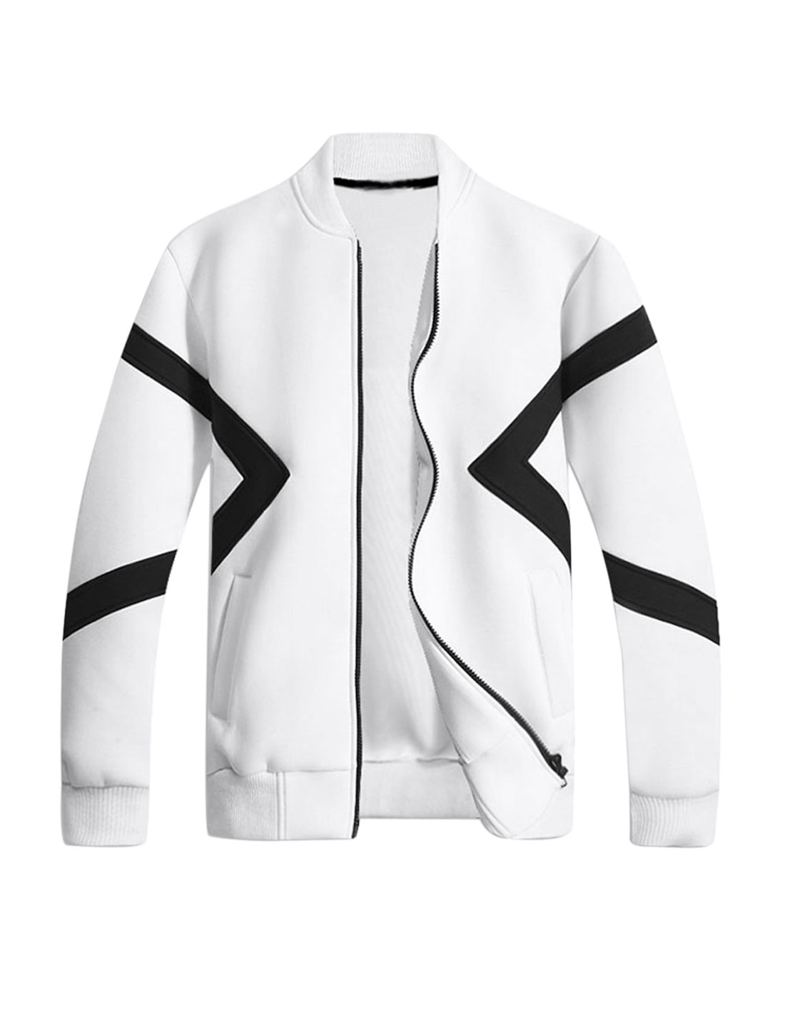 Men Stand Collar Long Sleeves Contrast Color Jacket White M