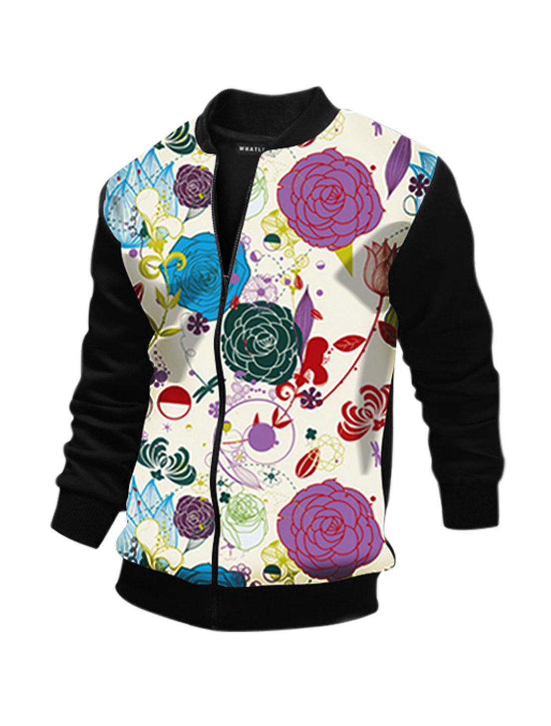 Men Long Sleeves Stand Collar Zip Closure Floral Jacket Black M