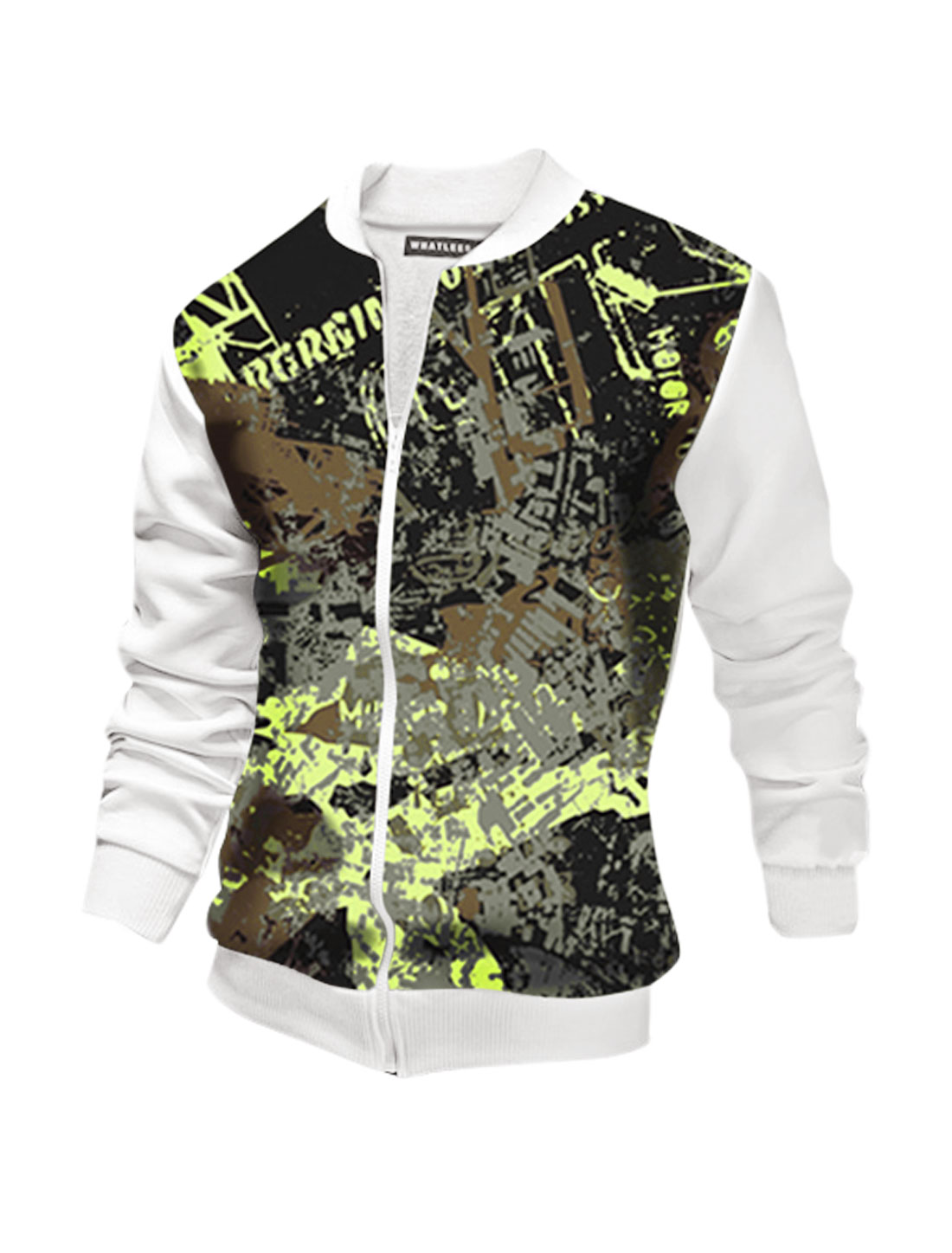 Men Long Sleeves Stand Collar Letters Novelty Jacket White M