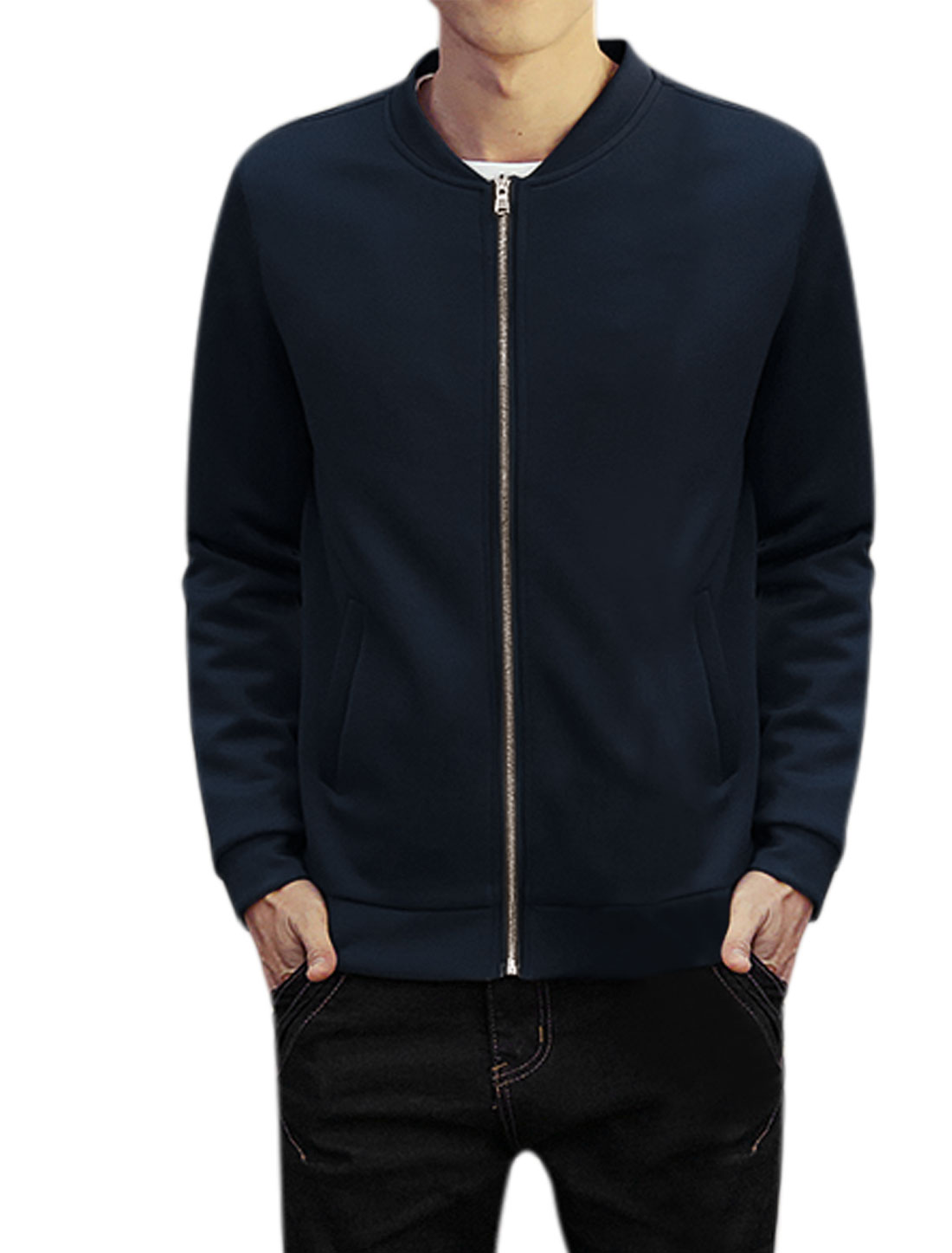 Man Long Sleeves Stand Collar Zip Up Slim Fit Jacket Navy Blue M