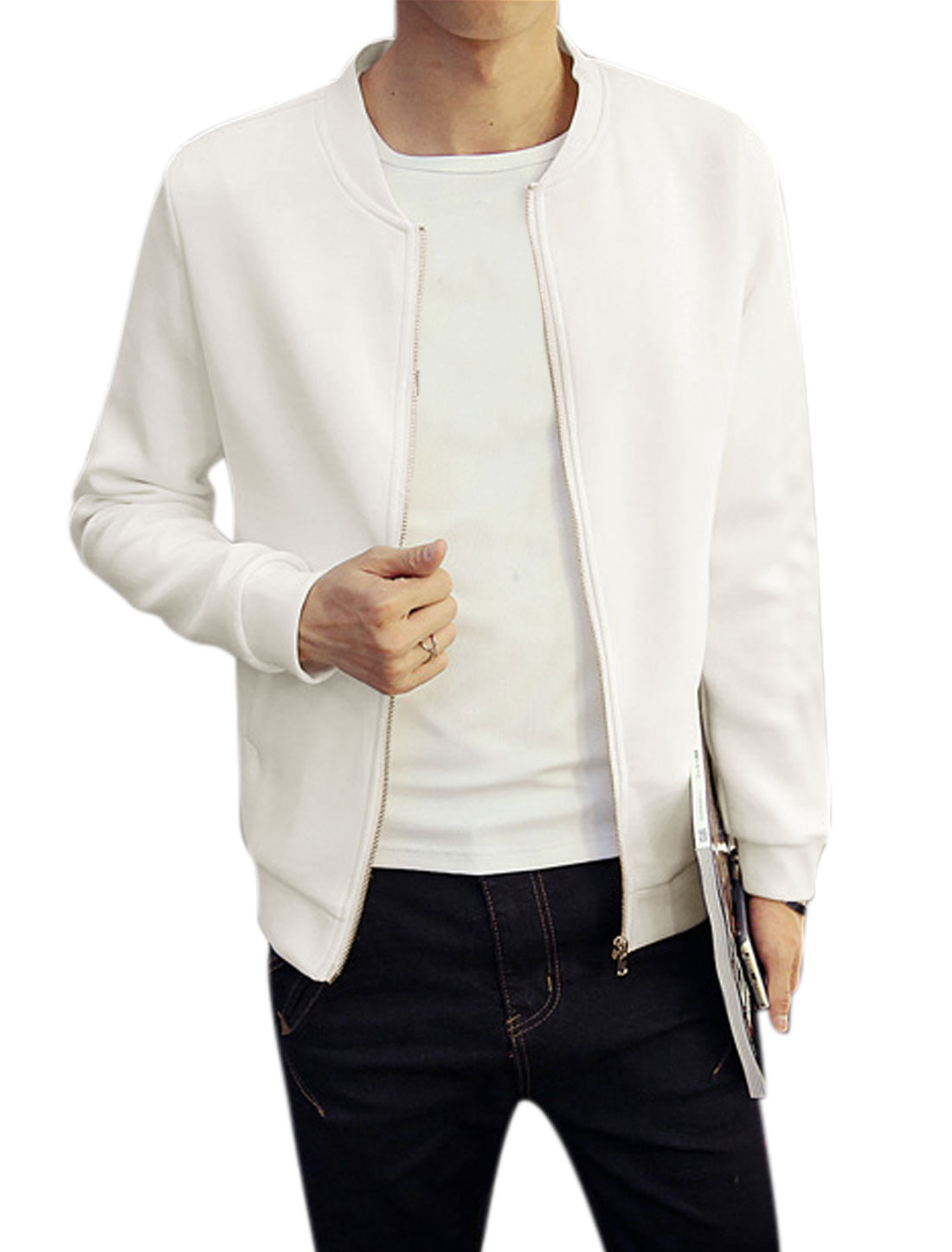 Man Long Sleeves Stand Collar Zip Up Slim Fit Jacket White M