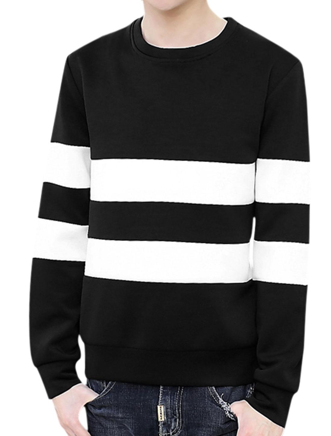 Man Long Sleeves Varsity Stripes Sweatshirt Black M