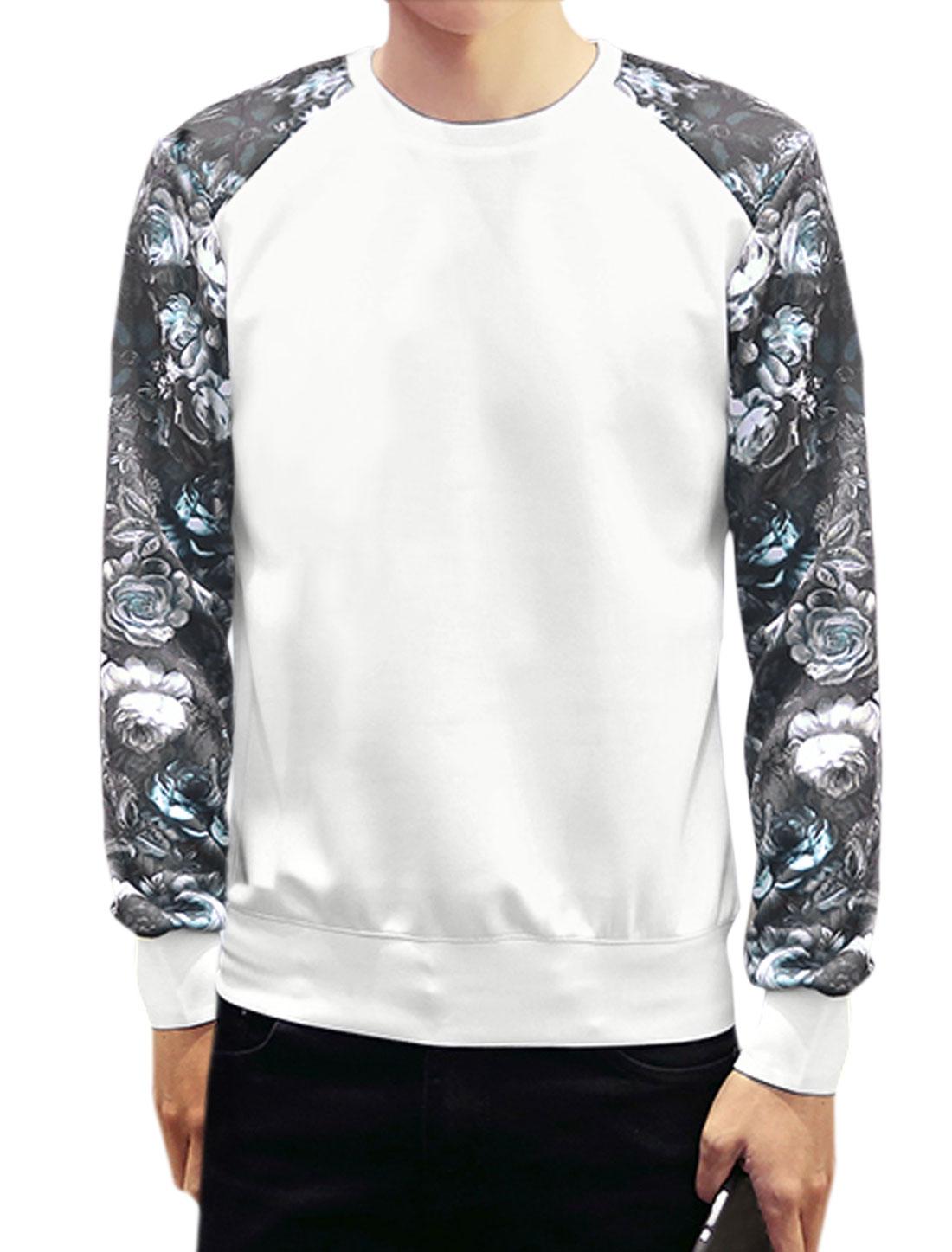 Man Long Sleeves Crew Neck Floral Print Slim Fit Sweatshirt White M