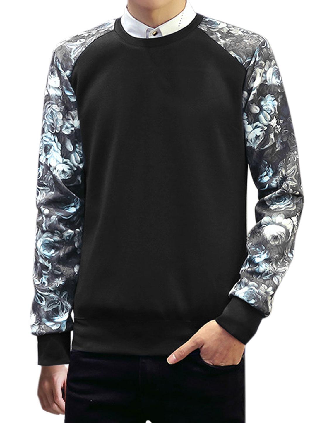 Men Long Sleeves Crew Neck Floral Print Casual Sweatshirt Black M