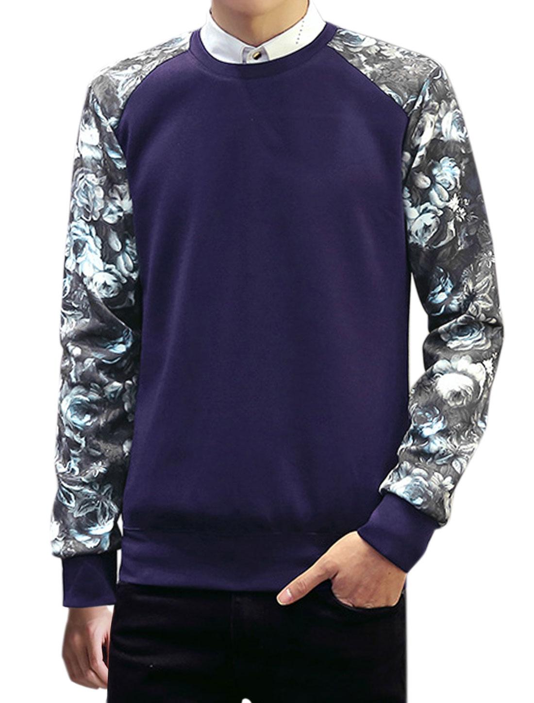 Men Long Sleeves Crew Neck Floral Print Casual Sweatshirt Blue M