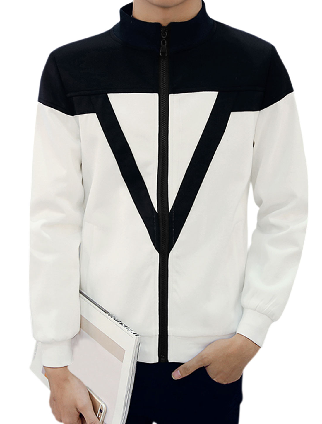 Men Long Sleeves Stand Collar Zip Up Contrast Color Jacket White Blue M