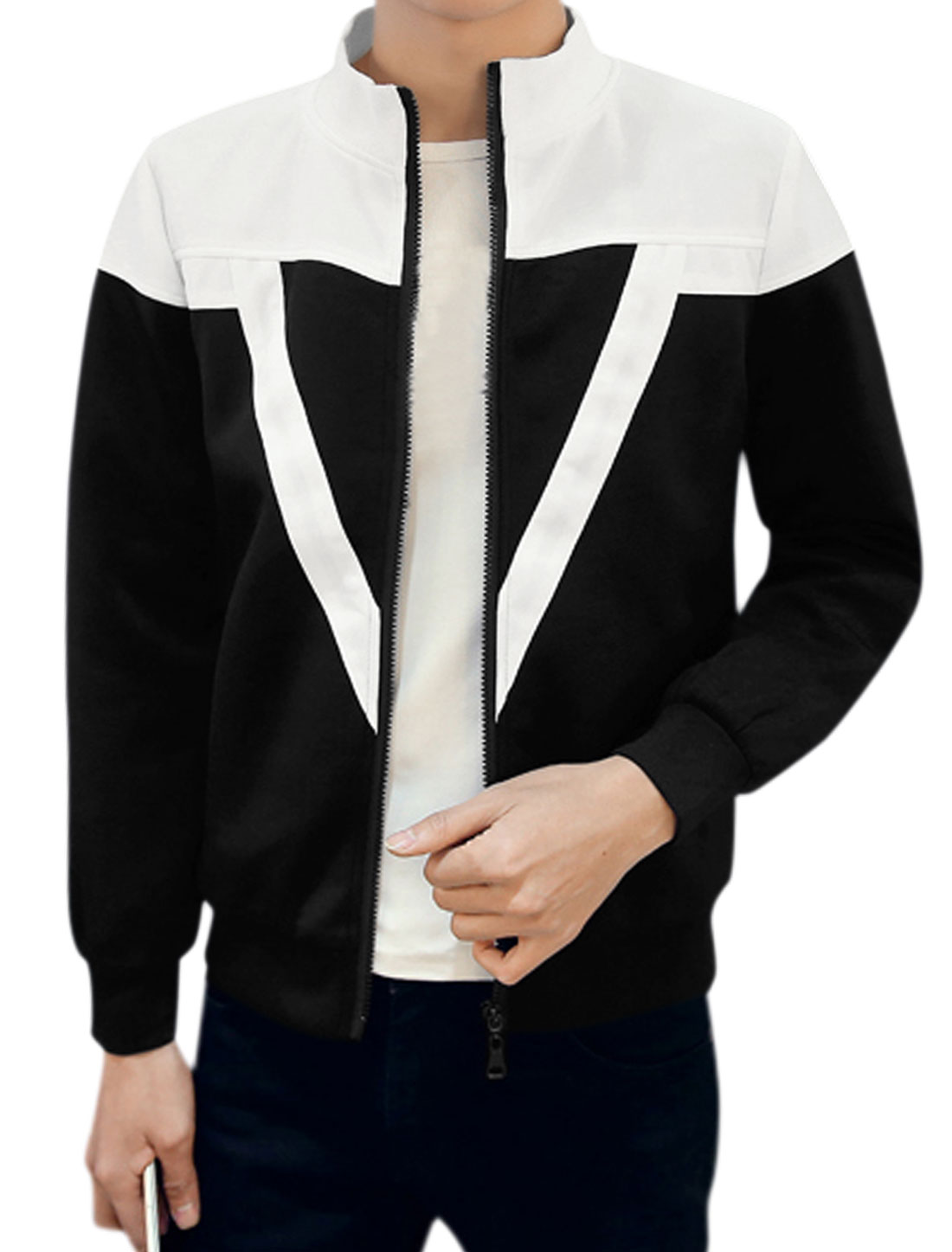 Men Long Sleeves Stand Collar Zip Up Contrast Color Jacket Black M