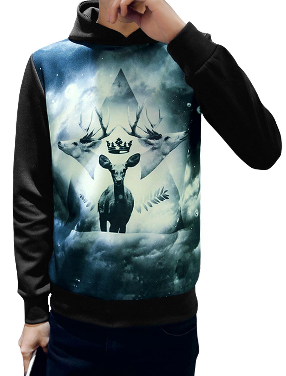 Men Long Sleeves Novelty Deers Print Casual Hoodie Black M