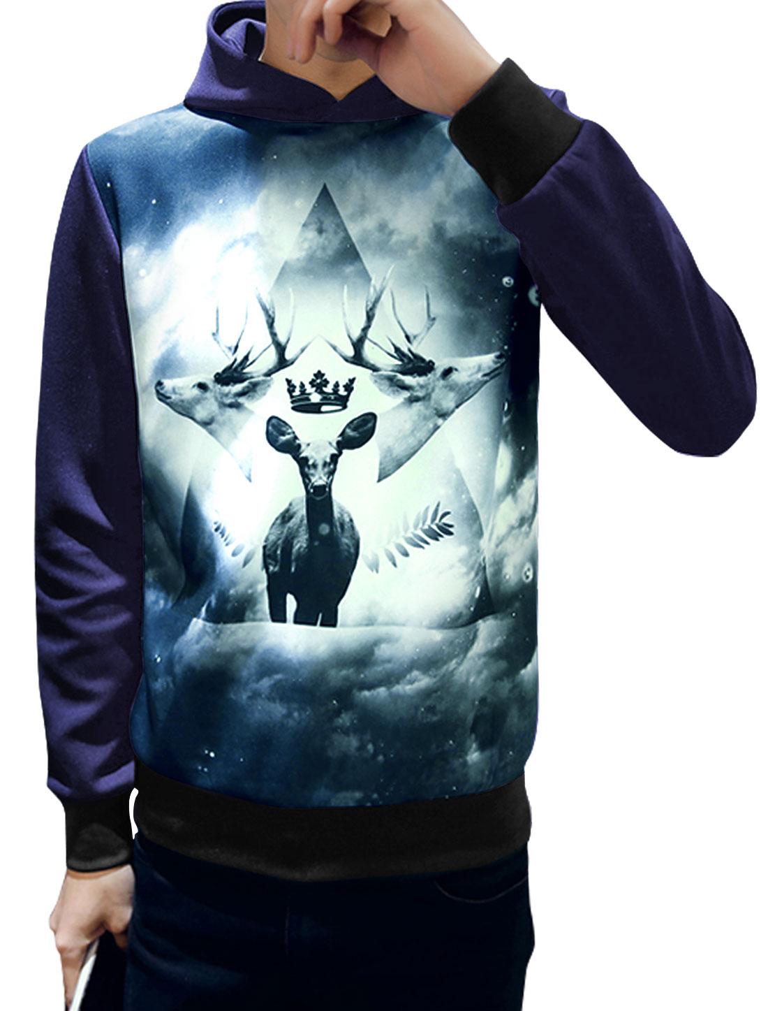 Men Long Sleeves Novelty Deers Print Casual Hoodie Blue M