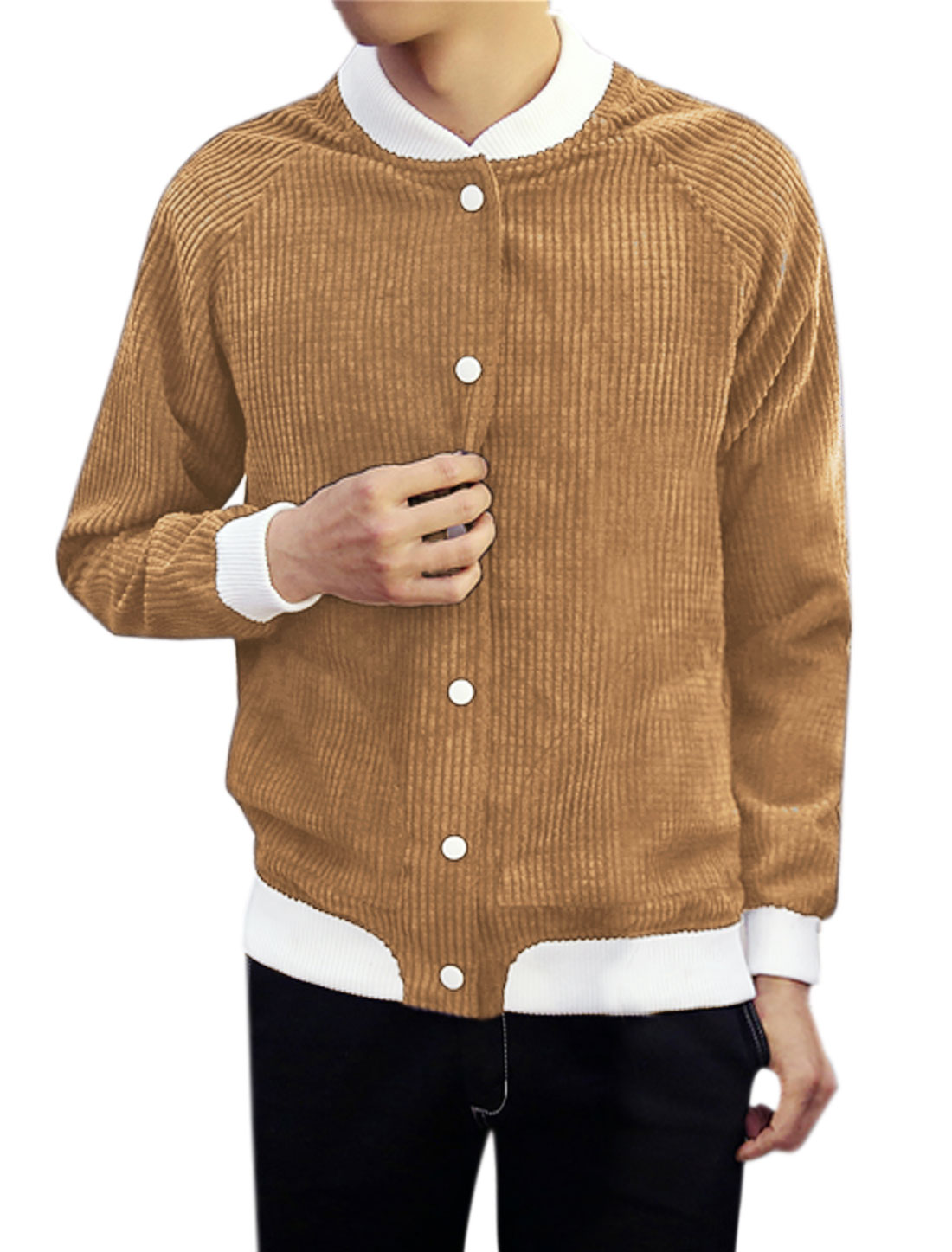 Men Snap Buttons Closure Contrast Color Textured Jacket Brown M