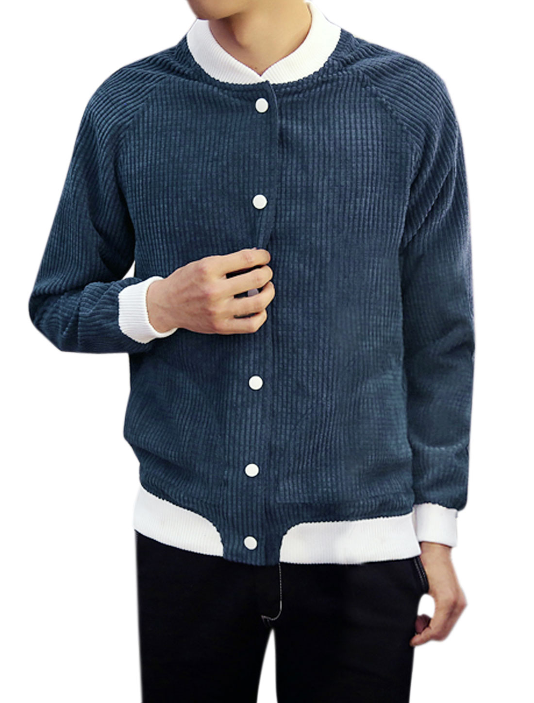 Men Snap Buttons Closure Contrast Color Textured Jacket Blue M