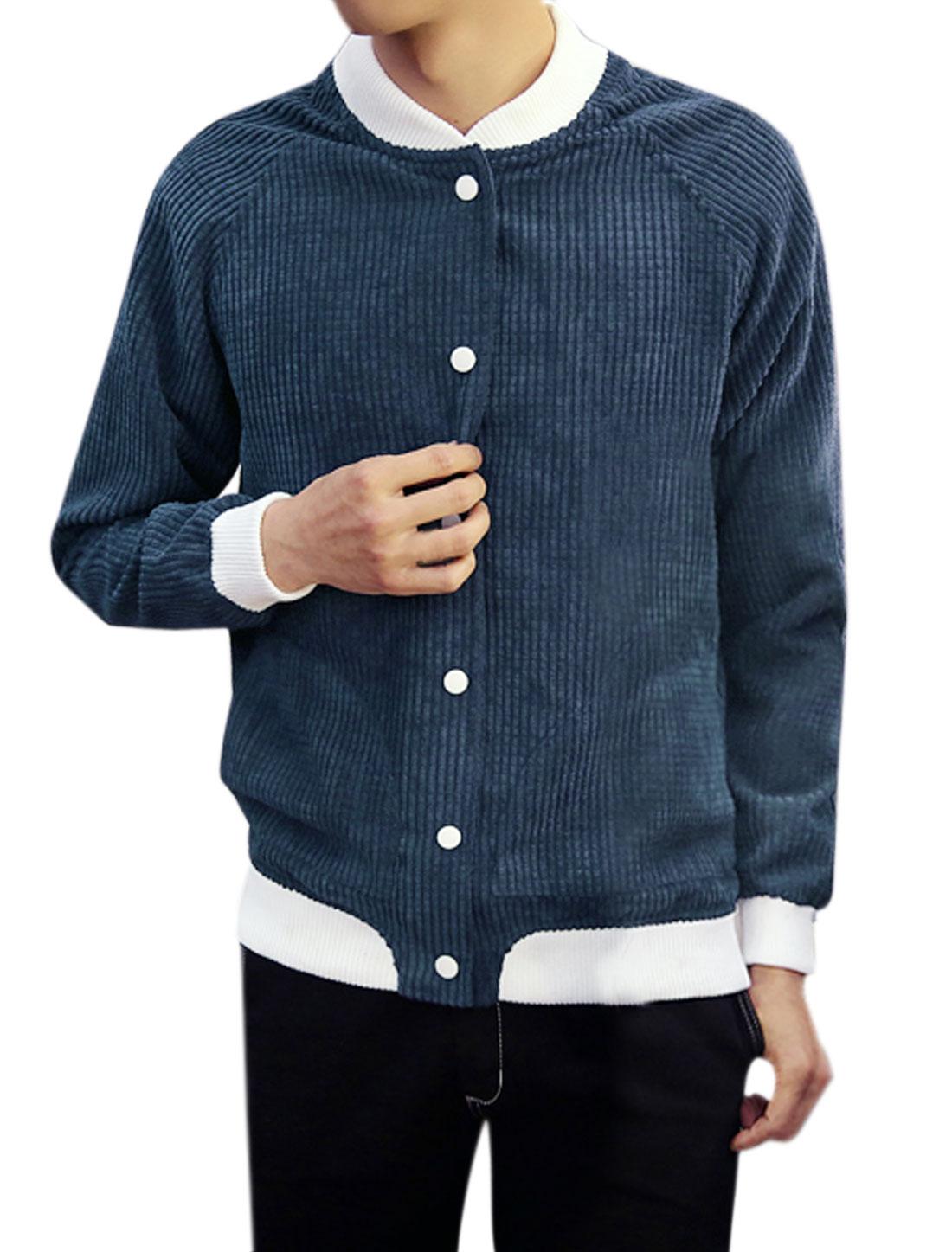 Men Snap Buttons Closure Contrast Color Textured Jacket Blue M