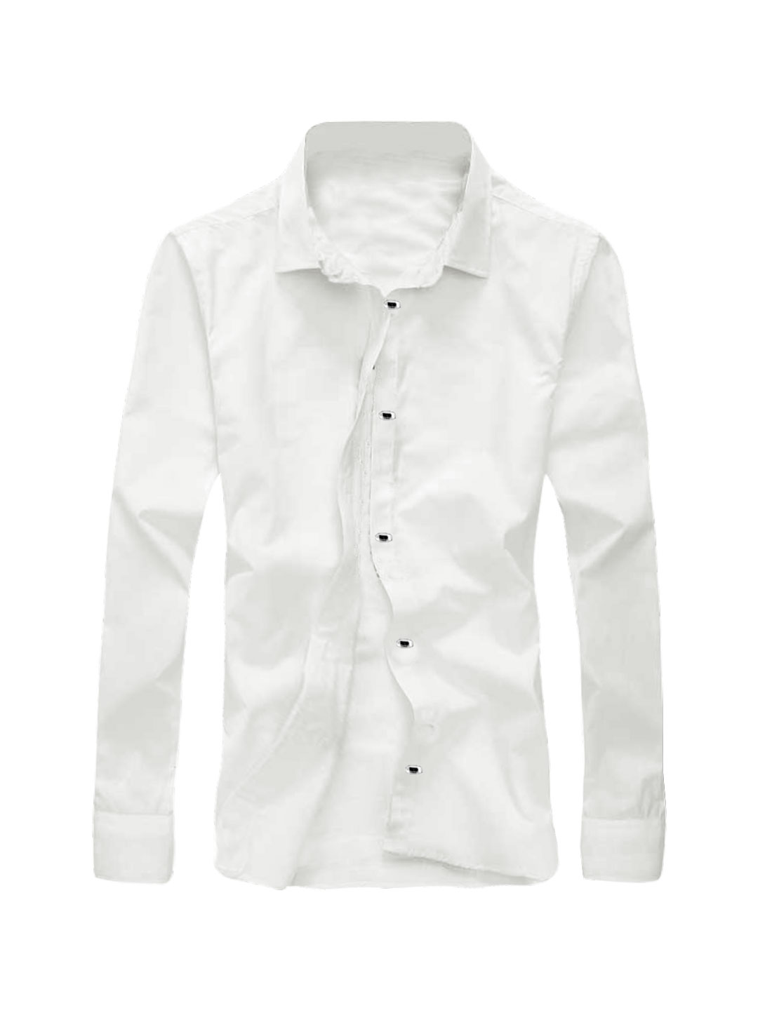 Men Point Collar Long Sleeves Snap Button Closed Casual Shirt White M