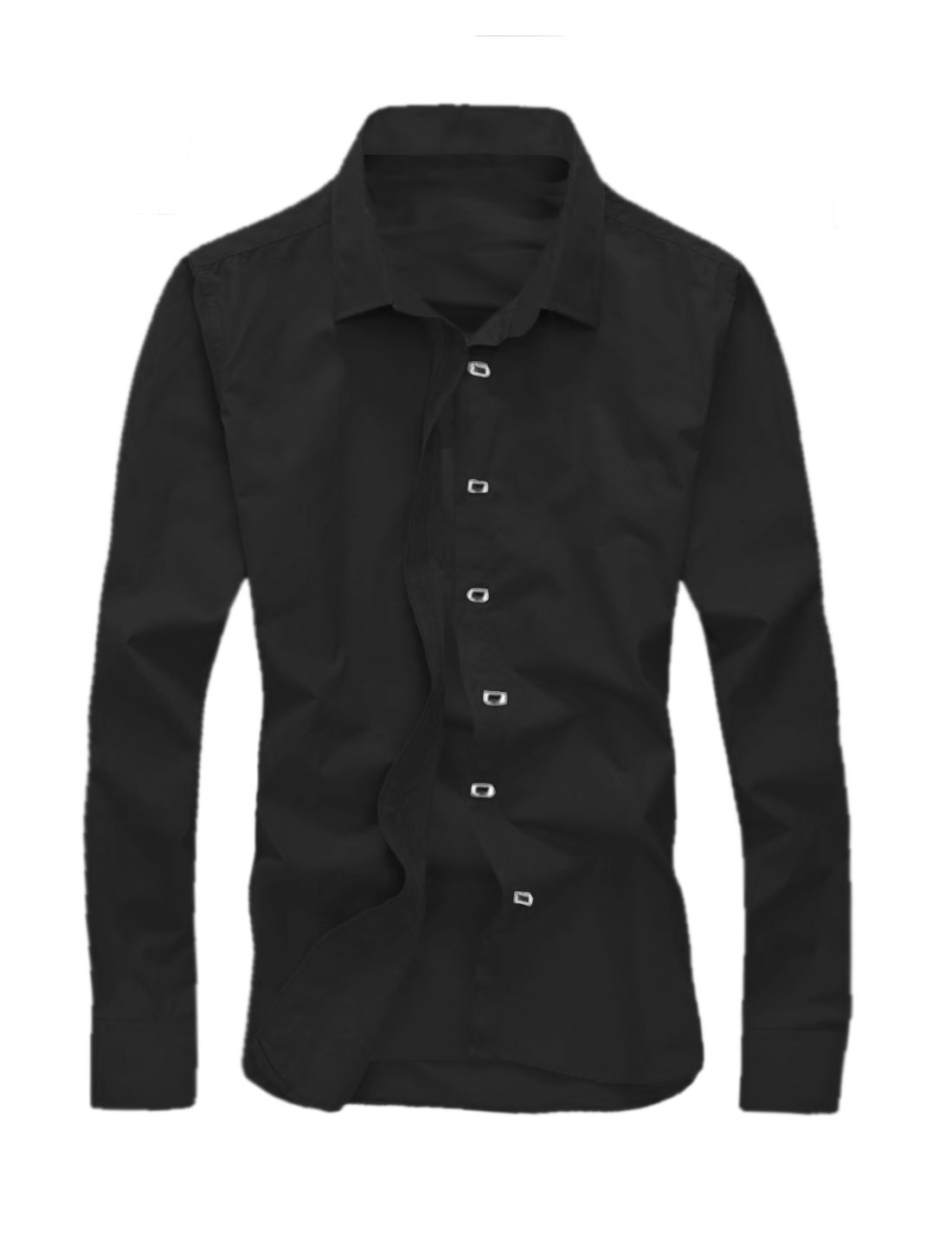Men Point Collar Long Sleeves Snap Button Closed Casual Shirt Black M