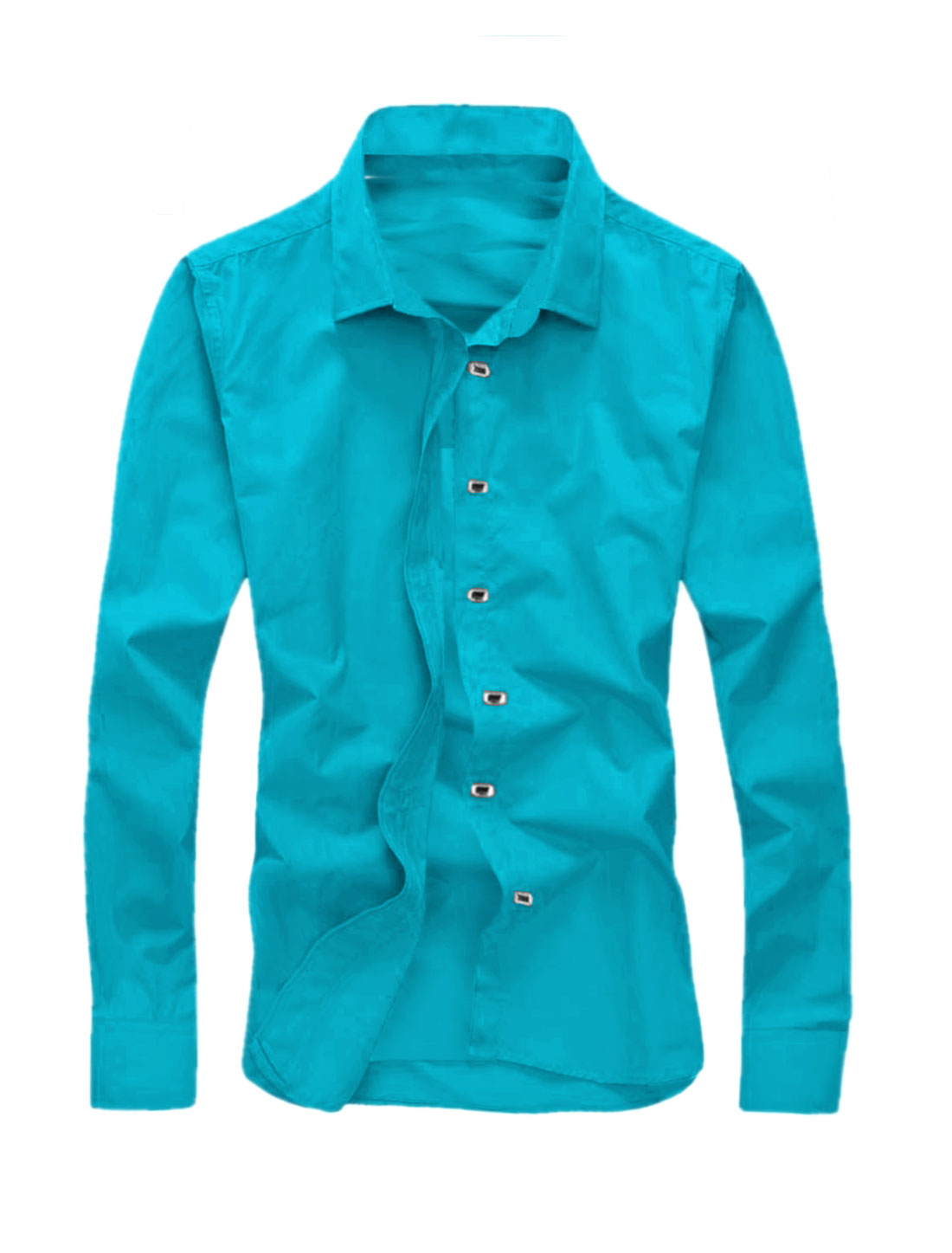 Men Point Collar Long Sleeves Snap Button Closed Casual Shirt Blue M