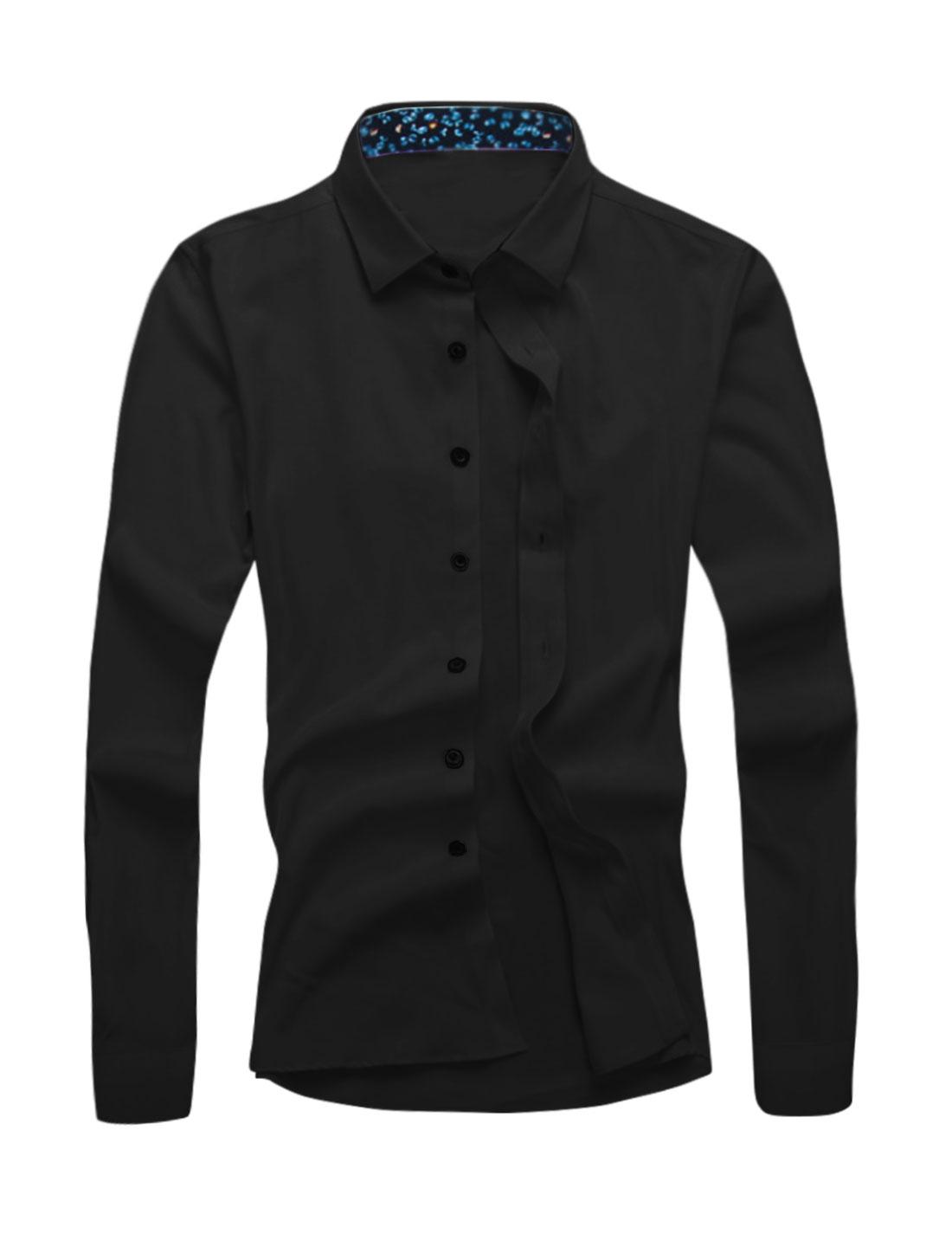 Men Point Collar Long Sleeves Single Breasted Slim Fit Shirt Black M