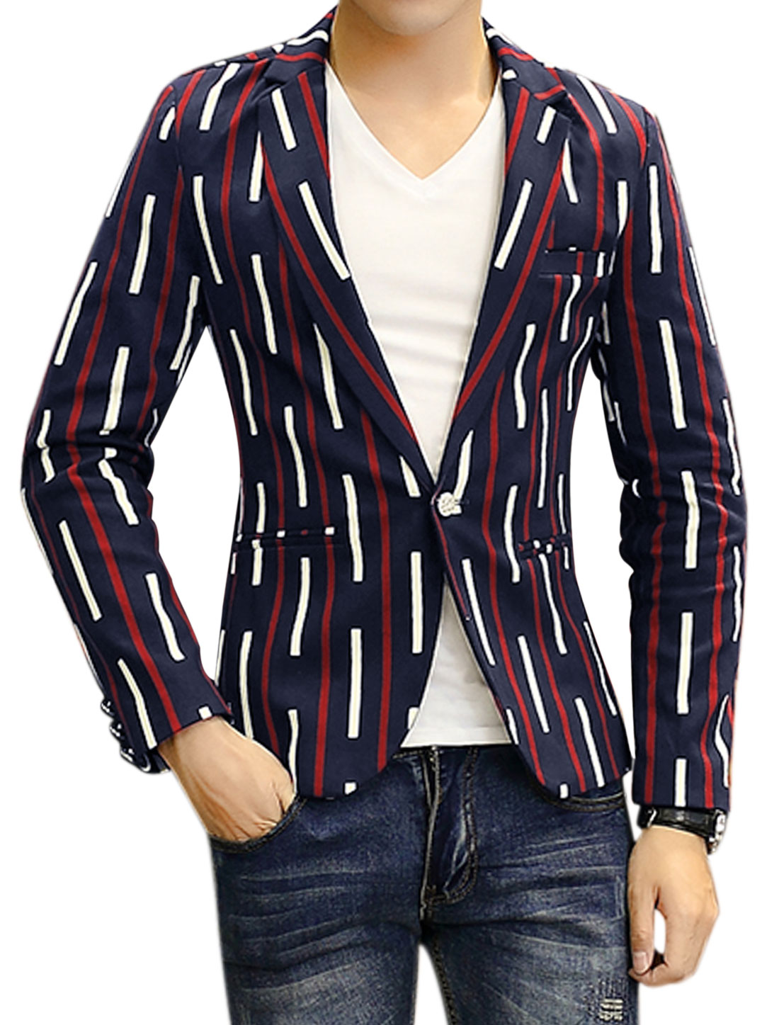 Men Notched Lapel Stripes Slim Fit Blazer Jacket Blue S