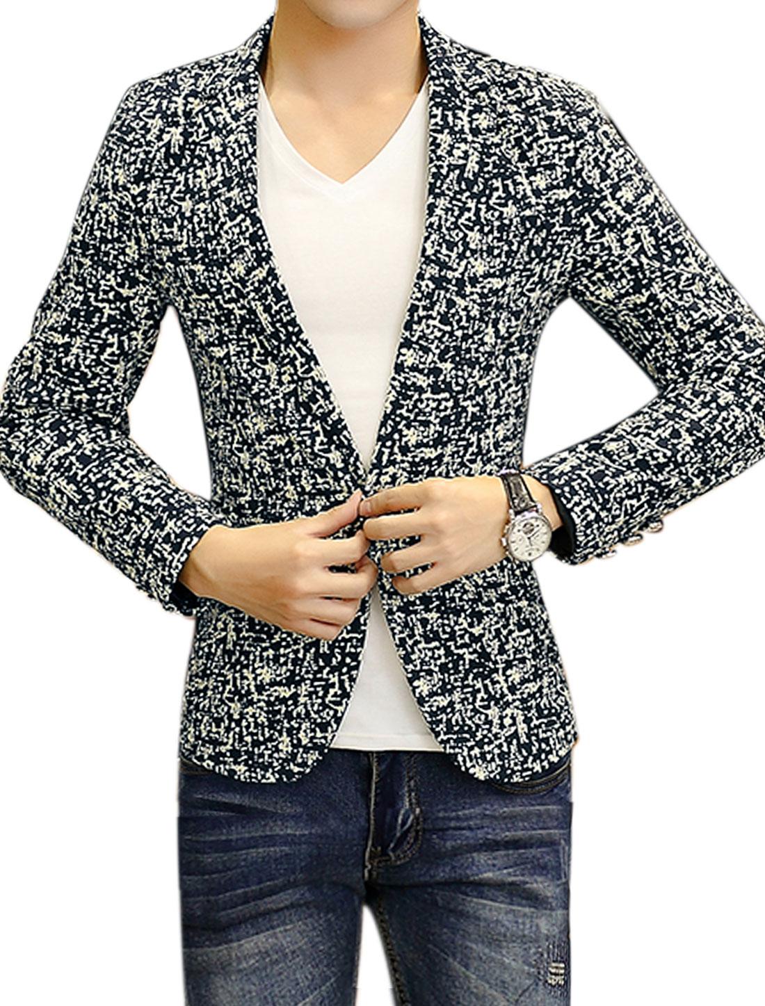 Men Notched Lapel Novelty Slim Fit Blazer Jacket Blue S