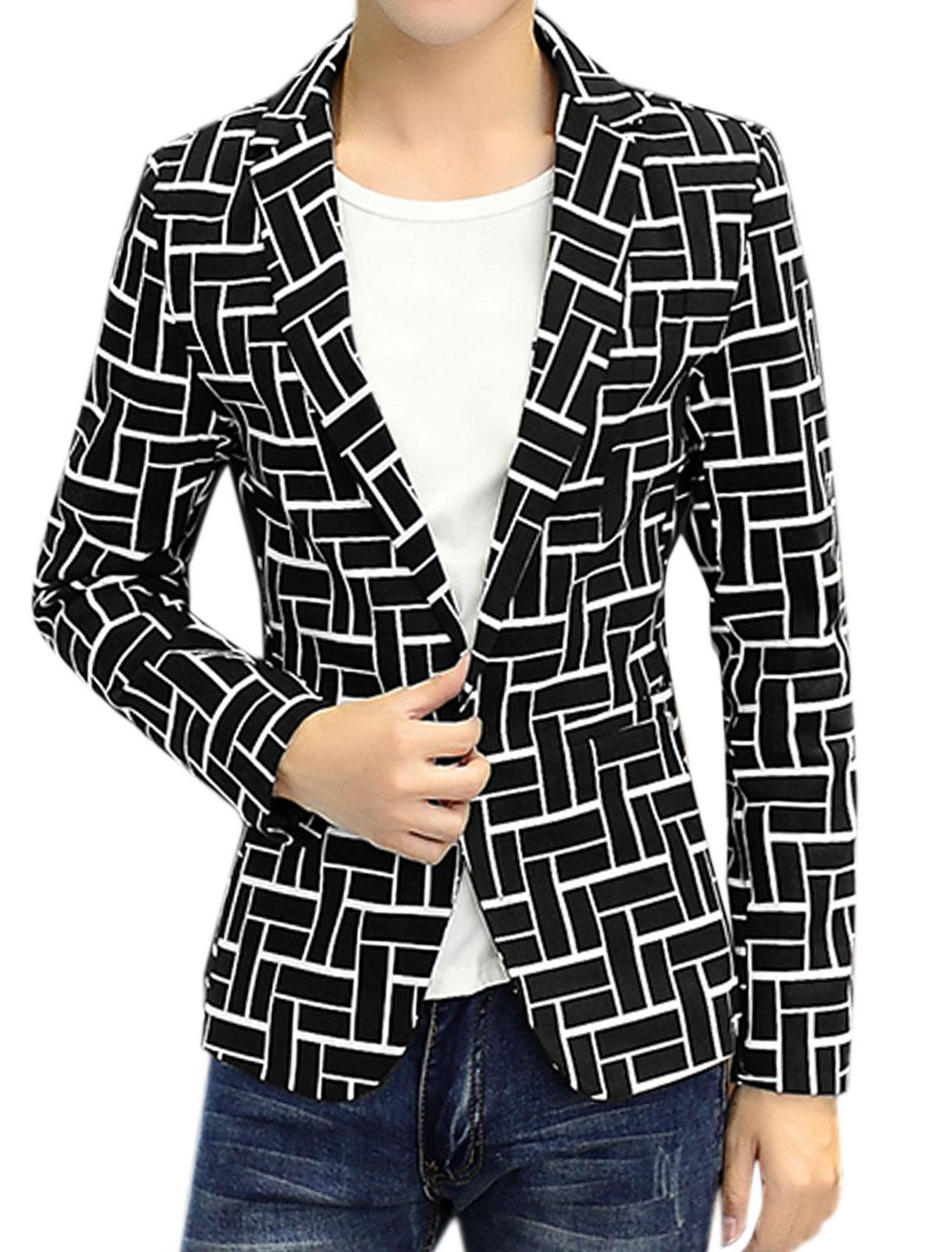 Men Long Sleeves Notched Lapel Geometric Slim Fit Blazer Jacket Black S