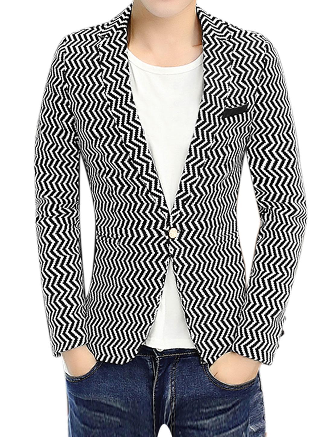 Men Notched Lapel Zig-Zag Slim Fit Blazer Jacket White S
