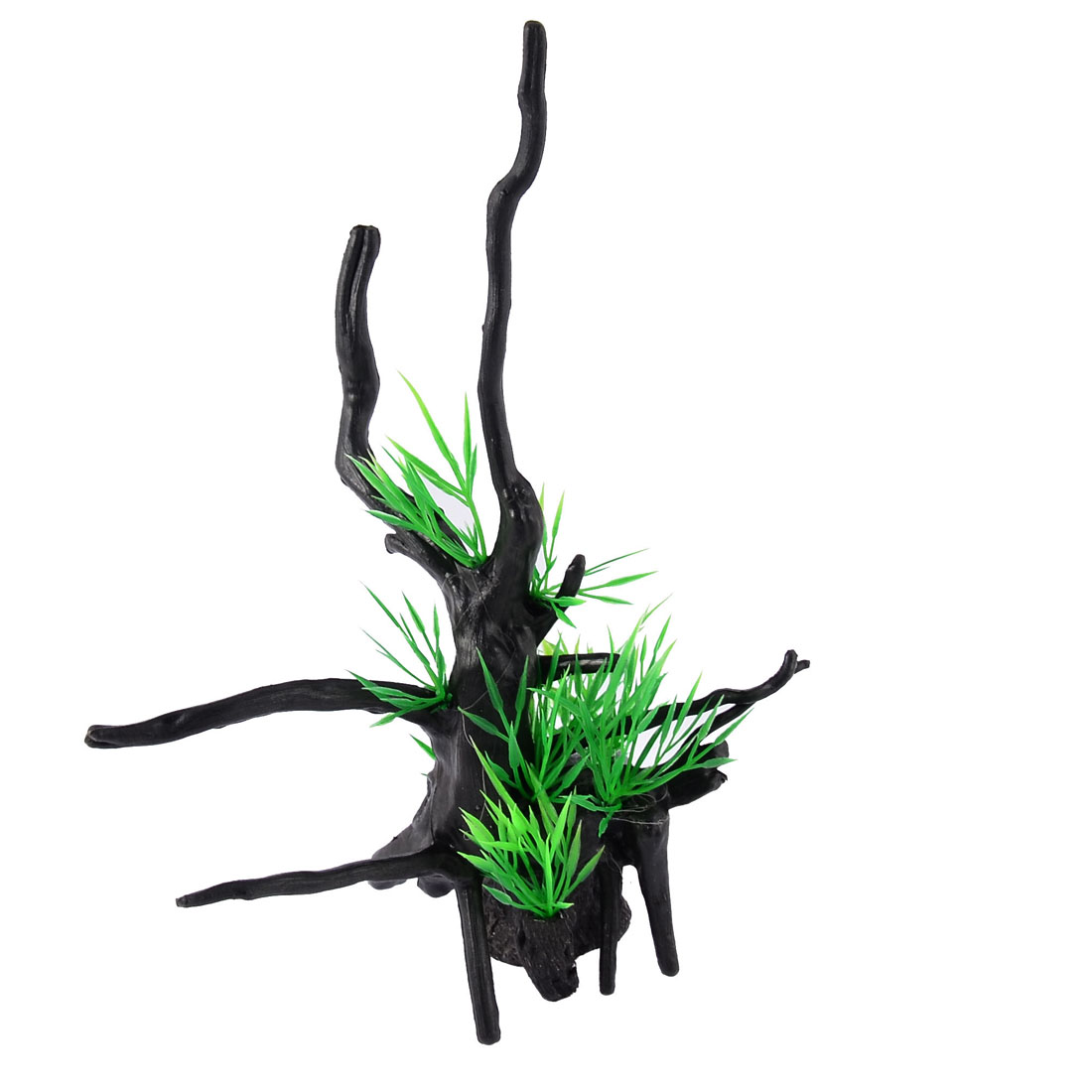 Green Black Plastic Artificial Leaf Tree Design Aquascaping Ornament Plant for Aquarium Fish Tank