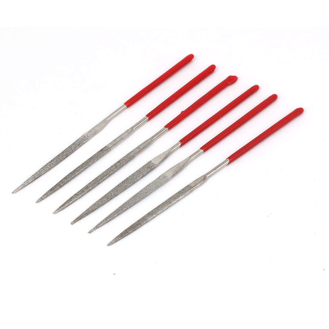 3mm x 100mm Red Plastic Coated Handle Jewelers Needle Files 6 in 1