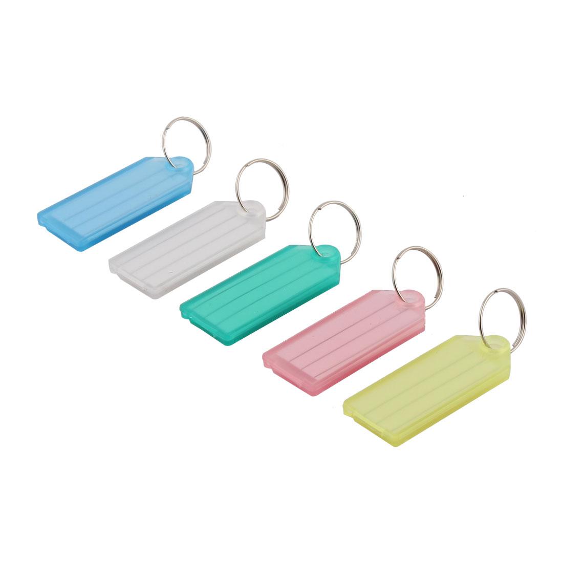 Travel Outdoor Plastic Rectangle Shaped Suitcase Luggage Tag Label Keyring 5pcs