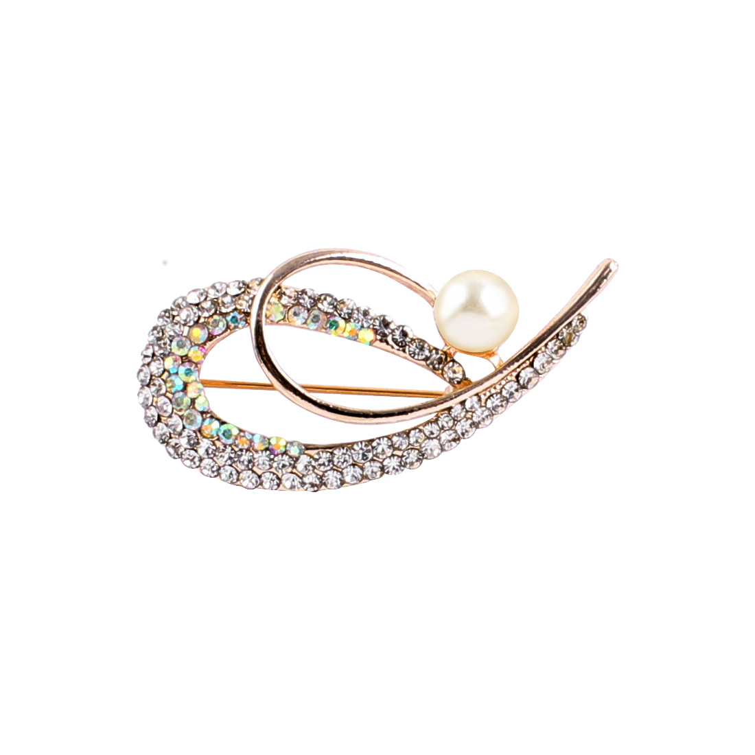 Lady Party Double 6 Shape Imitation Pearl Detail Brooch Breastpin Badge
