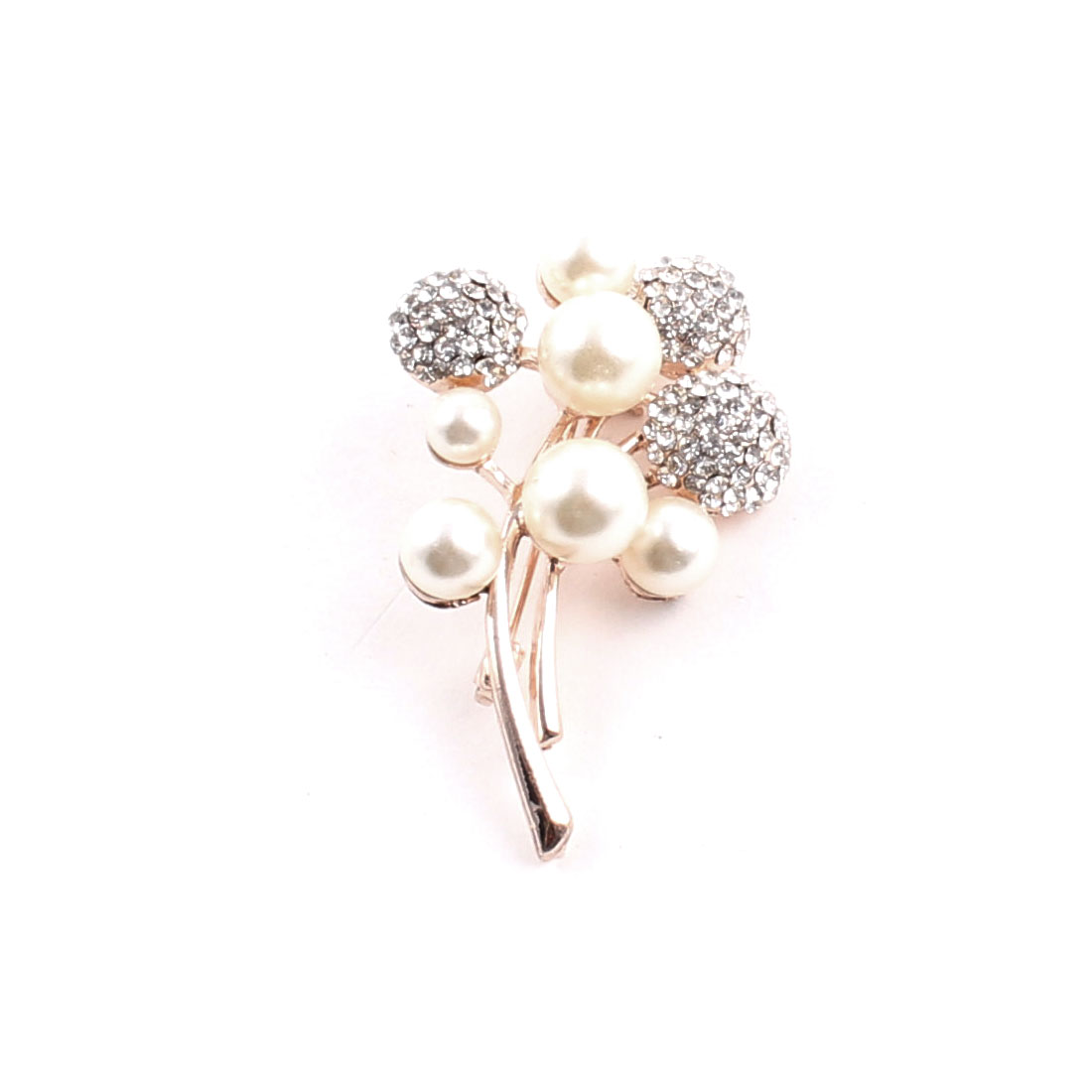 Lady Party Trunk Shape Imitation Pearls Detail Brooch Breastpin Badge