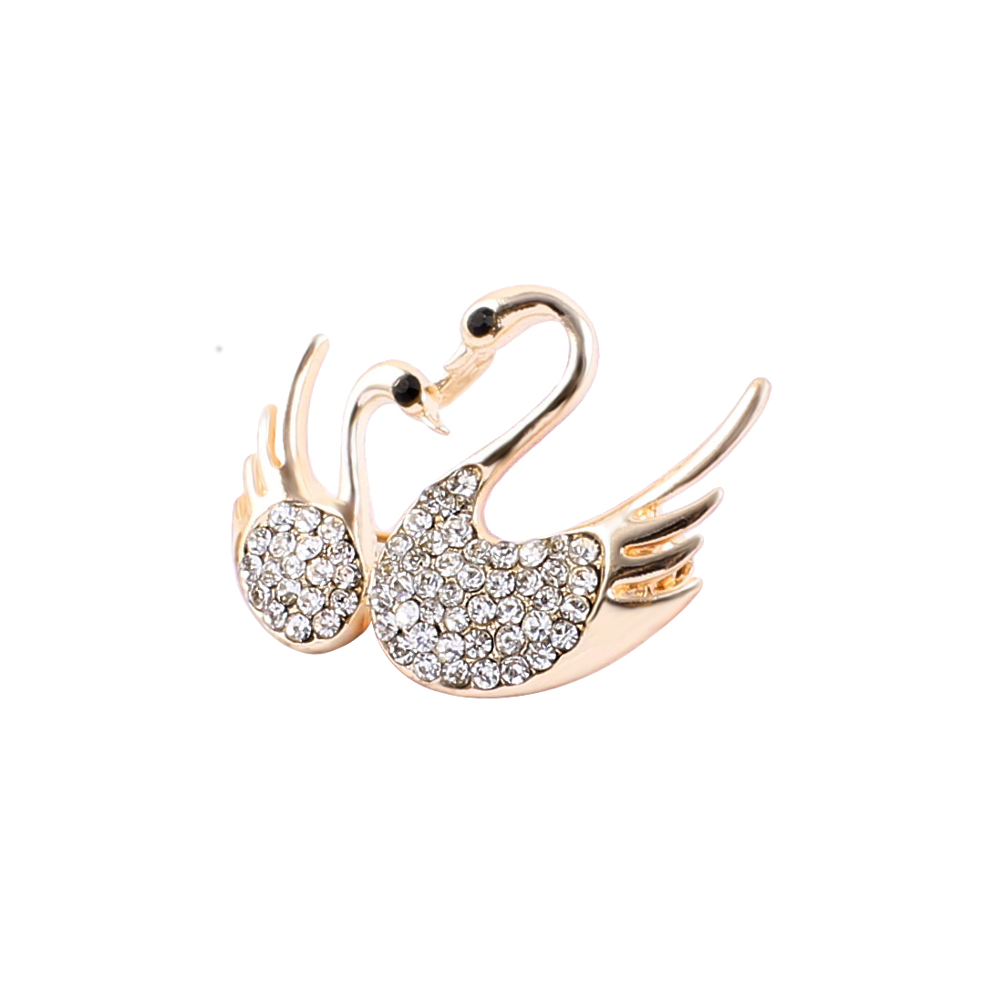 Lady Party Double Swans Shape Rhinestones Detail Brooch Breastpin Copper Tone