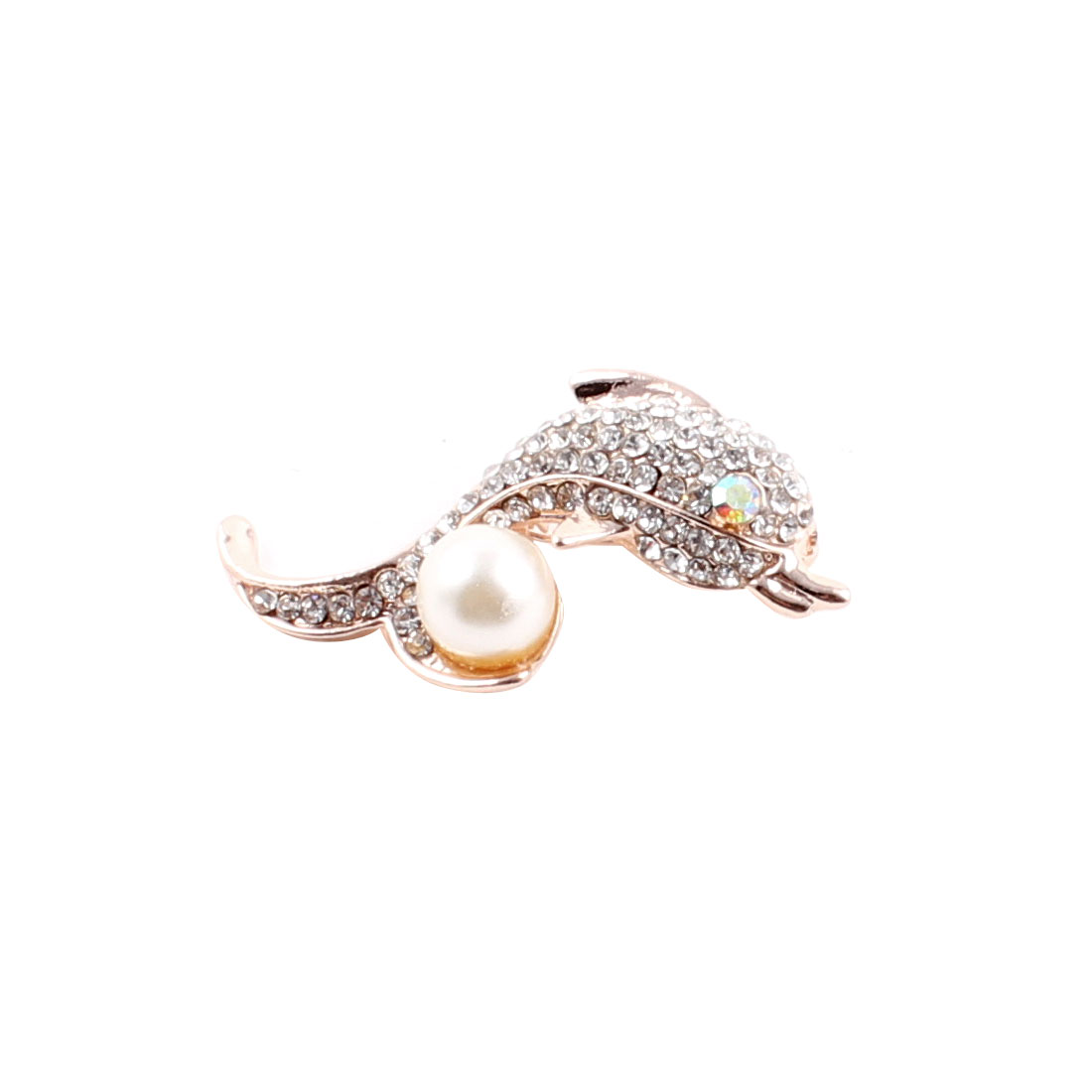 Lady Party Dolphin Shape Imitation Pearl Detail Brooch Breastpin Badge