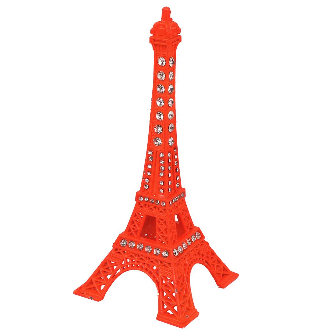 Metal France Miniature Building Rhinestone Inlaid Eiffel Tower Model Living Ornament Orange