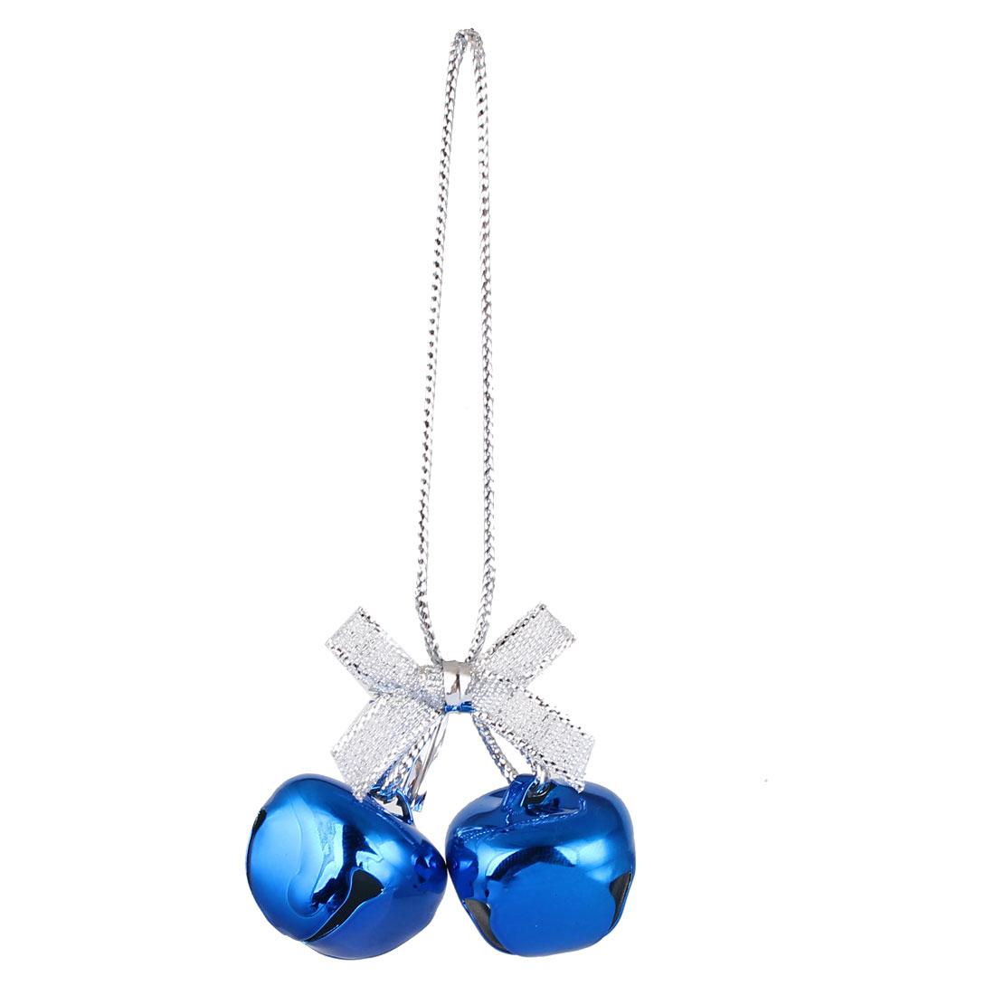Festival Christmas Tree Metal Bowknot Ring Bell Pendant Hanger Decor Dark Blue