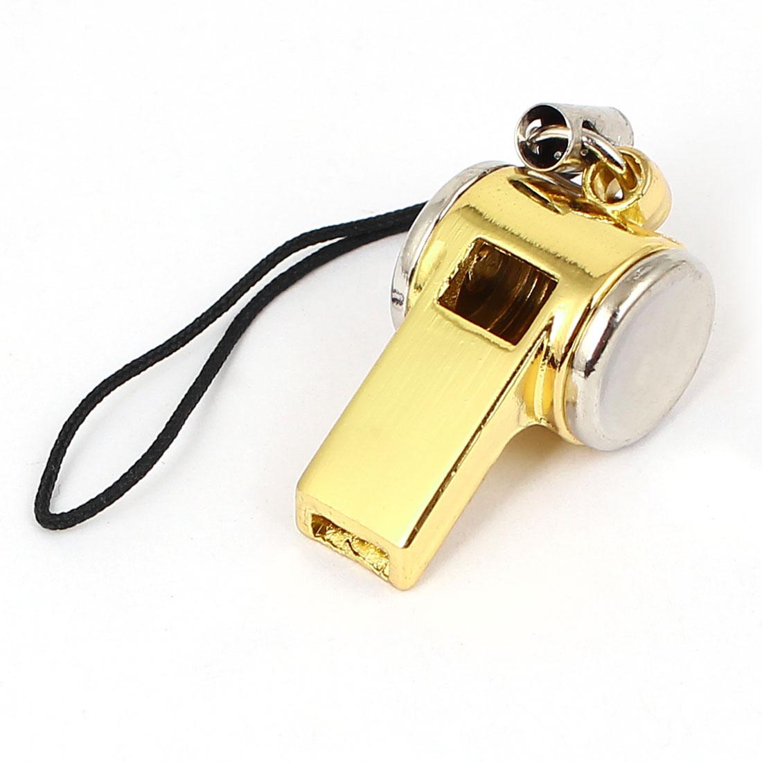 Metal Whistle Pendant Nylon String Handbag Purse Cell Phone Strap Gold Tone