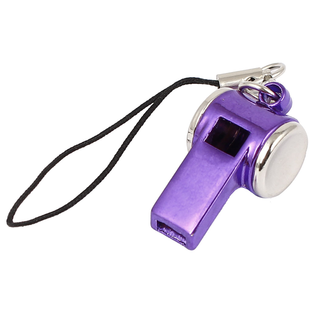 Metal Whistle Pendant Lobster Clasp Nylon String Cell Phone Strap Purple