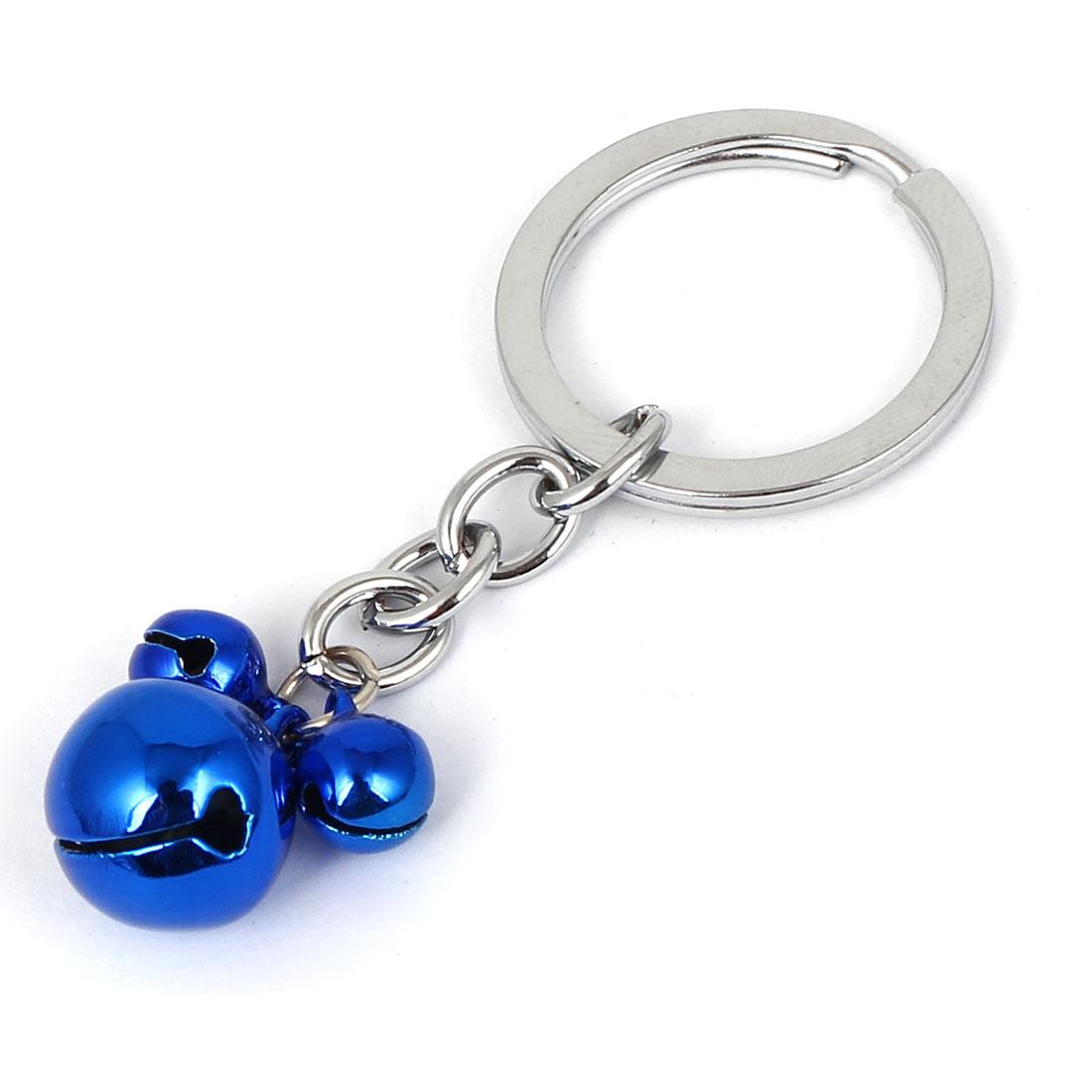 Metal Mouse Shape Pendant Ring Bell Chain Keyring Bag Decor Dark Blue