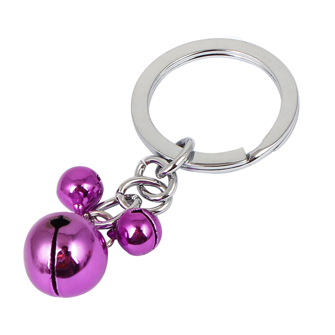 Metal Mouse Shape Pendant Ring Bell Chain Keyring Bag Decor Fuchsia