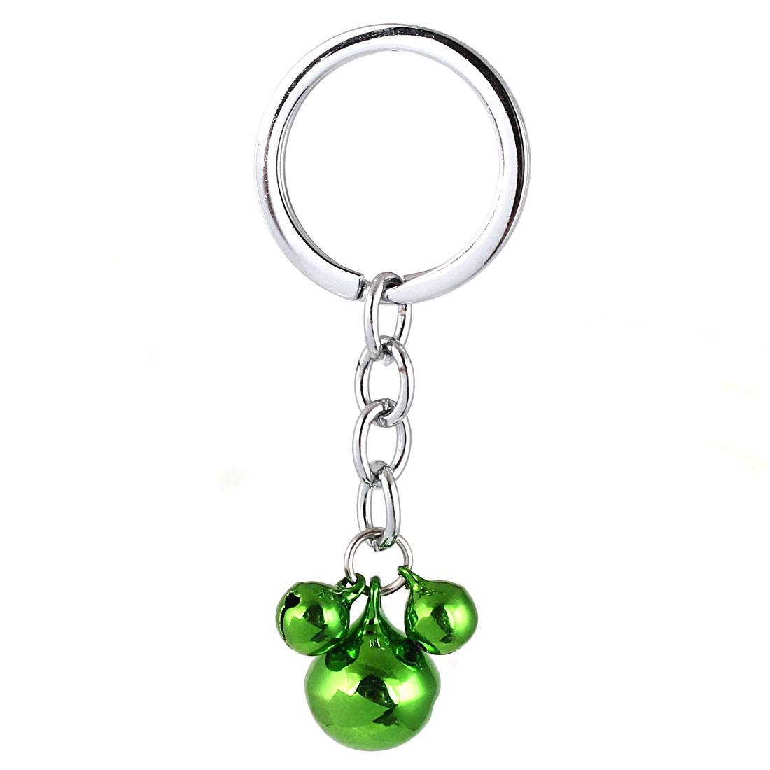 Metal Mouse Shape Bell Pendant Ring Chain Keyring Bag Decor Green