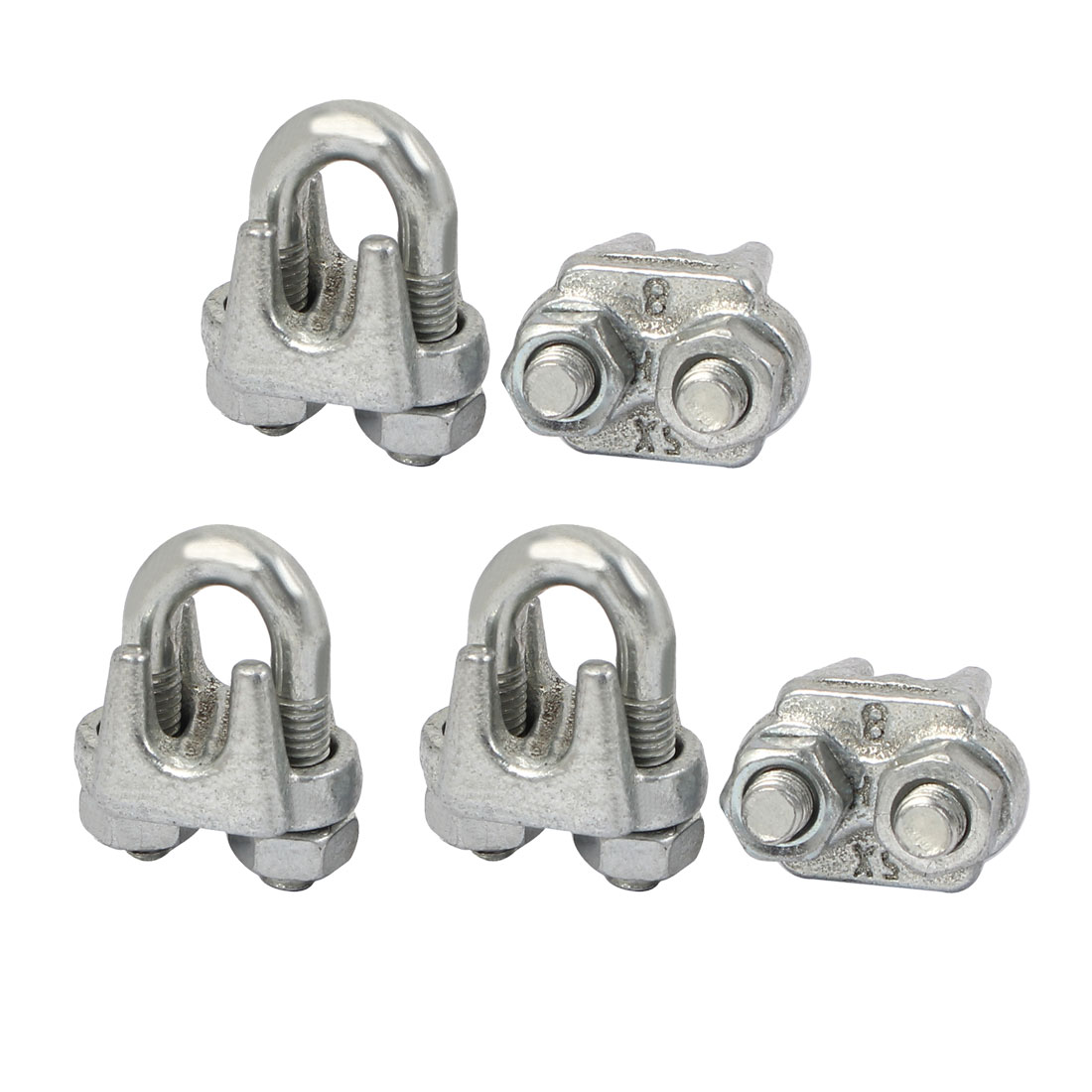 8mm Metal Wire Ropes Cable Clip Clamp Silver Tone 5pcs