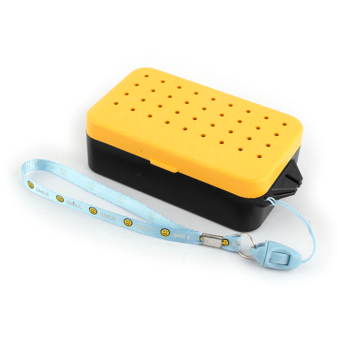 Yellow Black Plastic 2 Compartments Fishing Lure Bait Box Case Container w Neck Strap