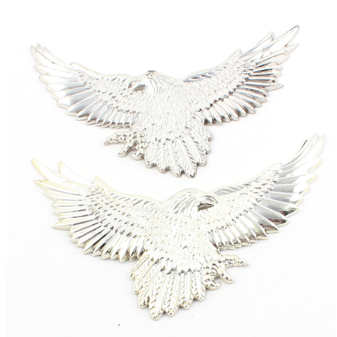 Silver Tone Plastic Eagle Design Car Auto Badge Sticky Sticker Decor Decal 2pcs