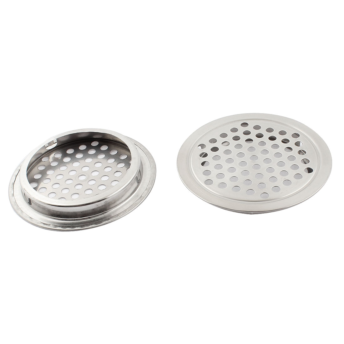 Kitchen 65mm Dia Round Metal Mesh Hole Air Vent Louver Cover Silver Tone 2pcs