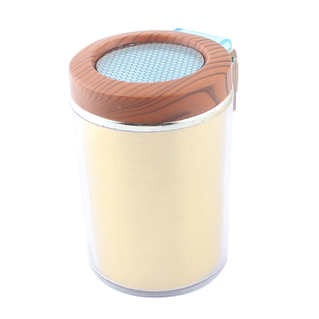 Car Plastic Cylinder Shape Ash Container Box LED Light Ashtray Gold Tone