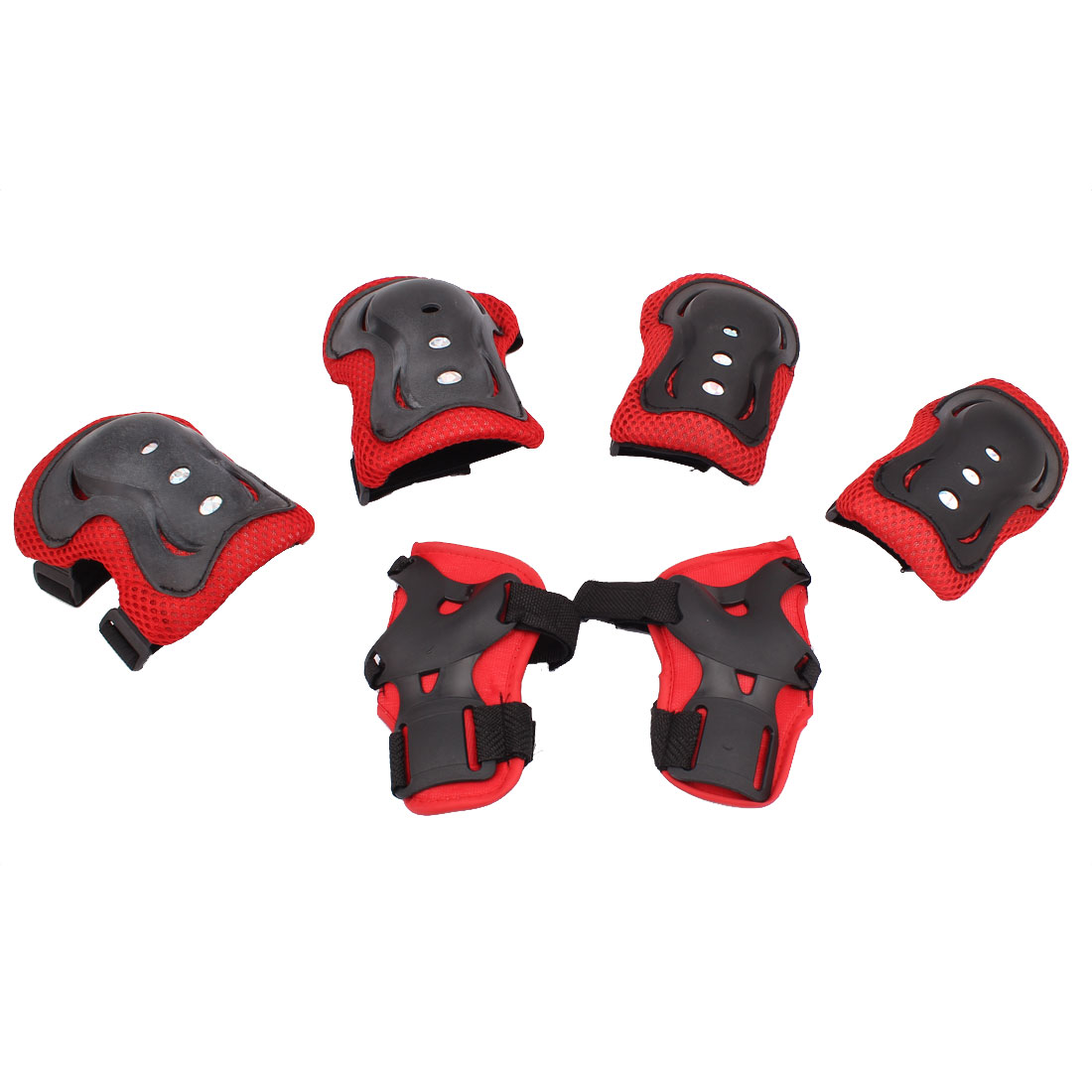 Skating Sports Palm Elbow Knee Support Guard Pad Protector Set Red Black 6 in 1
