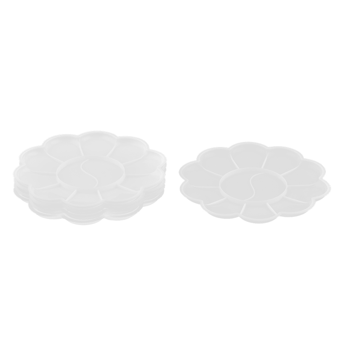 Plastic Flower Shaped 11 Compartments Paint Tray Mixing Palette White 5pcs